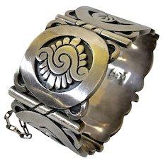 1940s Hector Aguilar Taxco 940 Silver Aztec Cuff Bracelet, Book Piece