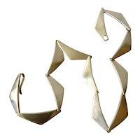 "Hans Hansen Denmark Modernist Sterling Silver ""Boomerang"" Necklace"