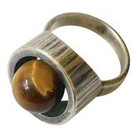Hans Hansen Denmark MidCentury Modernist Sterling Silver Tiger's Eye Ring