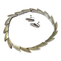 Antonio Pineda Taxco 970 Silver Modernist Geometric Waves Necklace, Earrings