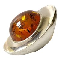 Stunning Georg Jensen Denmark Modernist Sterling Silver and Amber Ring #242, Henning Koppel Design