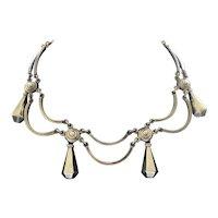 Taxco Los Castillo Design MidCentury Sterling Silver Necklace with Pendant Dangles