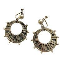 RARE Margot de Taxco Sterling Silver Dangling Hoop Earrings #5130