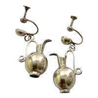 Wm Spratling Taxco Sterling Silver Dangling Water Pitcher Earrings