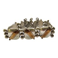 Iconic William Spratling Taxco Sterling Silver and Copper Wave Bracelet c 1940