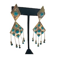 Taxco Zuni Style Sterling Silver and Turquoise Dangle Earrings