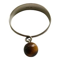 RARE Hans Hansen Denmark Modernist Sculptural Sterling Silver Bangle Bracelet with Tiger's Eye, c 1960