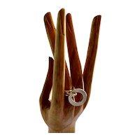 RARE Hans Hansen Denmark Modernist Sterling Silver Kinetic Ring with Ring