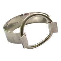 Hans Hansen Denmark MidCentury Modernist Sterling Silver Cuff Bracelet with Ring, Bent Gabrielsen Design