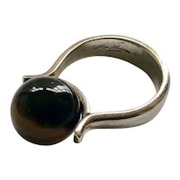 Hans Hansen Denmark MidCentury Sterling Silver Tiger's Eye Ring