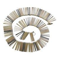 RARE Anton Michelsen Denmark Sterling Silver Four Color Fringe Necklace