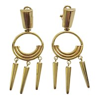 14K Solid Gold Modernist Geometric Earrings, Made in Italy