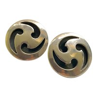 Sigi Pineda Taxco Modernist Sterling Silver Shadowbox Earrings