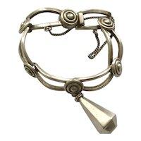 RARE Los Castillo Taxco Sterling Silver Bracelet with Dangle # 788, c 1940s
