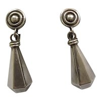 RARE Los Castillo Taxco Sterling Silver Dangle Earrings #788,  c. 1940s