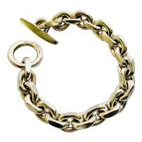 Hans Hansen Denmark MidCentury Heavy Sterling Silver Link Bracelet with Toggle