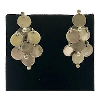 RARE William Spratling Taxco Modernist Sterling Silver Disk Dangle Earrings