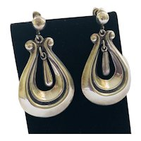 Hilario Lopez Taxco MidCentury Sterling Silver Lyre-Shaped Dangle Earrings