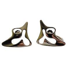 """Georg Jensen Denmark Sterling Silver Modernist """"Splash"""" Earrings #119, Henning Koppel Design"""