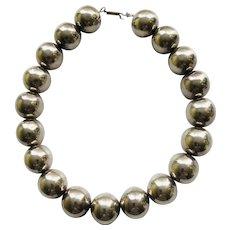Vintage Modernist Sterling Silver Bead Necklace, Zina of Beverly Hills