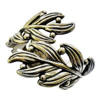 Mexican Leaf and Berry Sterling Silver Clamper Bracelet