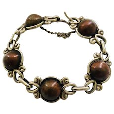 Early Los Castillo Taxco Sterling Silver and Copper Dome Bracelet #799
