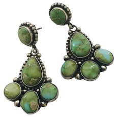 Vintage Eleanor Largo Navajo Sterling Silver Sonoran Gold Turquoise Dangle Earrings