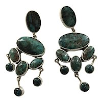 Superb Federico Jimenez Turquoise and Sterling Silver Dangle Earrings