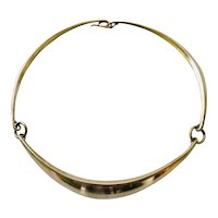 Hans Hansen Denmark Sculptural Sterling Silver Choker Necklace #320, Bent Gabrielsen Design c 1970