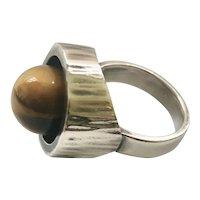 Hans Hansen Denmark MidCentury Modernist Sterling Silver Ring with Tiger's Eye