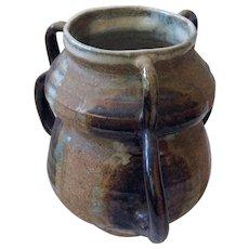 Three-Handled MidCentury Glazed Stoneware Art Pottery Vase