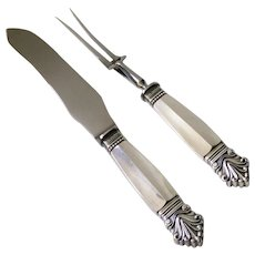 Georg Jensen Sterling Silver Carving Set, Acanthus Pattern