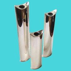 "Lino Sabattini ""Giselle"" Sculptural Silverplate Candlesticks or Bud Vases, Set of 3"