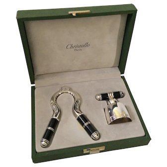 Christofle Laque de Chine Champagne Cork Pull and Stopper Set in Presentation Case