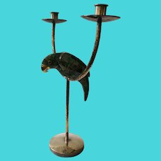 Emilia Castillo Taxco Hand-Hammered Silverplate Candelabra with Malachite Inlaid Parrot