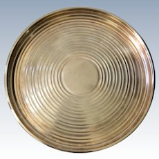 Christofle Art Deco Round Silverplate Serving Tray/Platter: Ondulations Pattern Designed by Luc Lanel