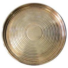 Christofle Art Deco Round Silverplate Serving Tray/Platter: Ondulations Pattern Designed by Luc Lanel