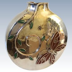 Emilia Castillo Taxco Tall Hand-Hammered Silverplate Vase with Inlaid Jasper Butterflies and Malachite Leaves