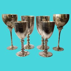 6 Taxco MidCentury Hand-Hammered Silverplate Stemmed Goblets, 3 Pairs  including Emilia Castillo and Los Castillo