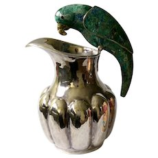 """Los Castillo Taxco Handwrought MidCentury Silverplate 11"""" Water Pitcher with Inlaid Malachite Parrot Handle"""
