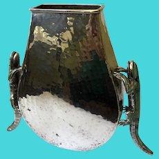 Emilia Castillo Taxco Hammered Silverplate Vase with Turquoise Inlaid Iguanas