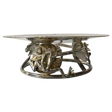 RARE Emilia Castillo Taxco Hand-hammered Silverplate Serving Dish or Display Piece with Frogs