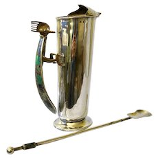 RARE Los Castillo Taxco Handwrought Silverplate Cocktail Pitcher and Stirrer with Inlaid Lapis and Malachite