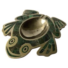 Los Castillo Taxco MidCentury Handwrought Frog Form Brass Ashtray/Trinket Bowl Inlaid with Malachite