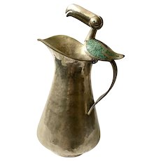 Villasana Taxco Silverplate Water Pitcher with Inlaid Toucan Handle