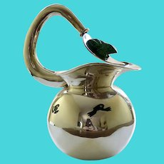 """Los Castillo Taxco 11"""" Tall Silverplate Water Pitcher with Malachite Frogs"""