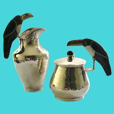 RARE Los Castillo Taxco Hand-Hammered Silverplate Sugar Creamer Set with Onyx Inlaid Toucan Handles and Mixed Metal Beaks