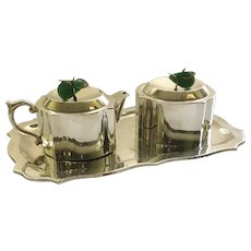 RARE Los Castillo Taxco STERLING SILVER Sugar Creamer Set with Tray, with Brass and Aventurine Finials