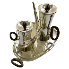 Superb Los Castillo STERLING SILVER Modernist Coffee Service with Amethyst Finials