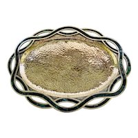 Los Castillo Taxco Hammered Silverplate Platter with Inlaid Stone Border